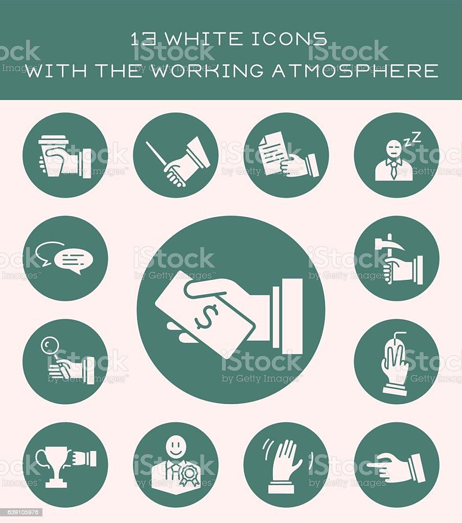 13 white icons with the working atmosphere. vector art illustration