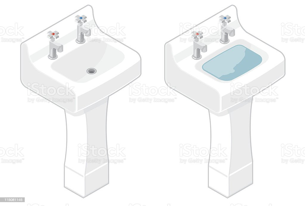 White Isometric Sink vector art illustration