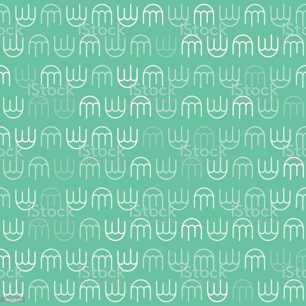 White Jellyfish Pattern on Green Background vector art illustration