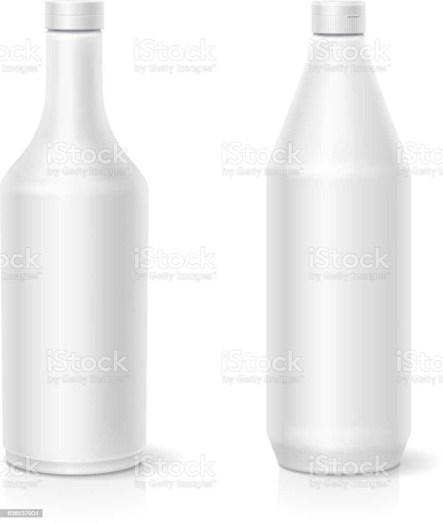 White ketchup blank plastic bottles template isolated vector illustration vector art illustration