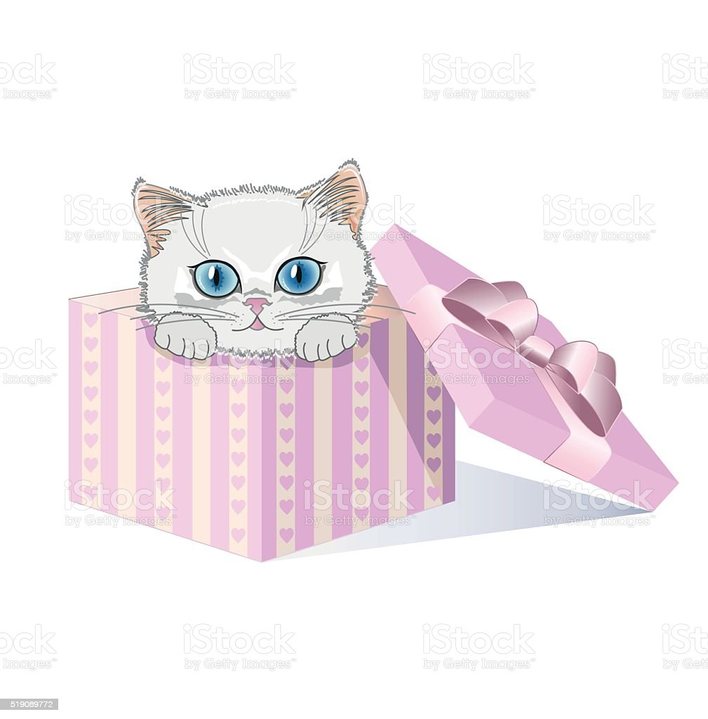 White kitten with blue eyes in a gift box vector art illustration