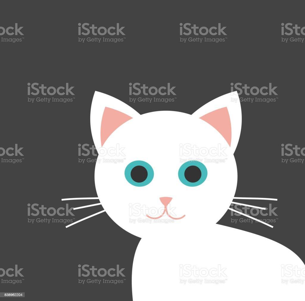 White kitten with blue eyes vector art illustration
