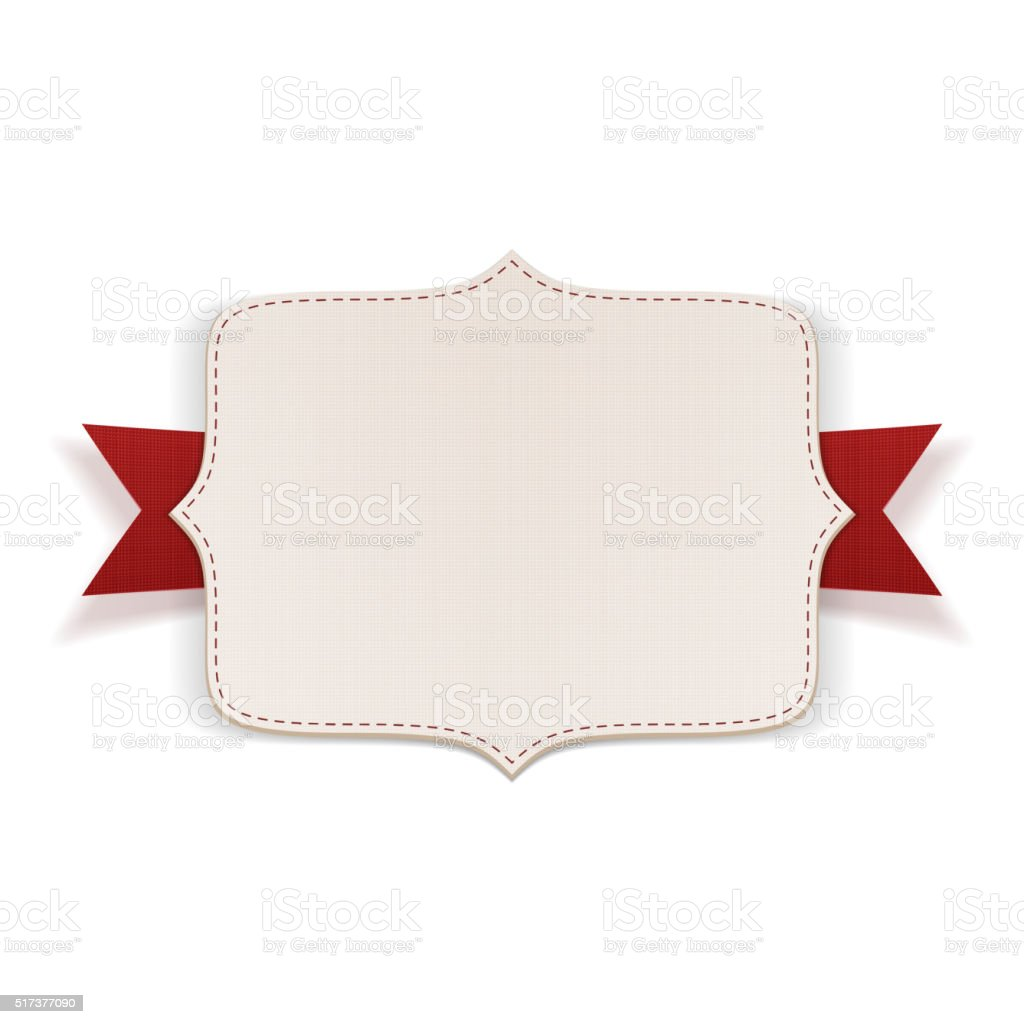 White Label with red Ribbon vector art illustration