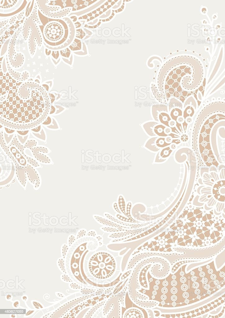 White Lace Backgrounds. Corners. vector art illustration