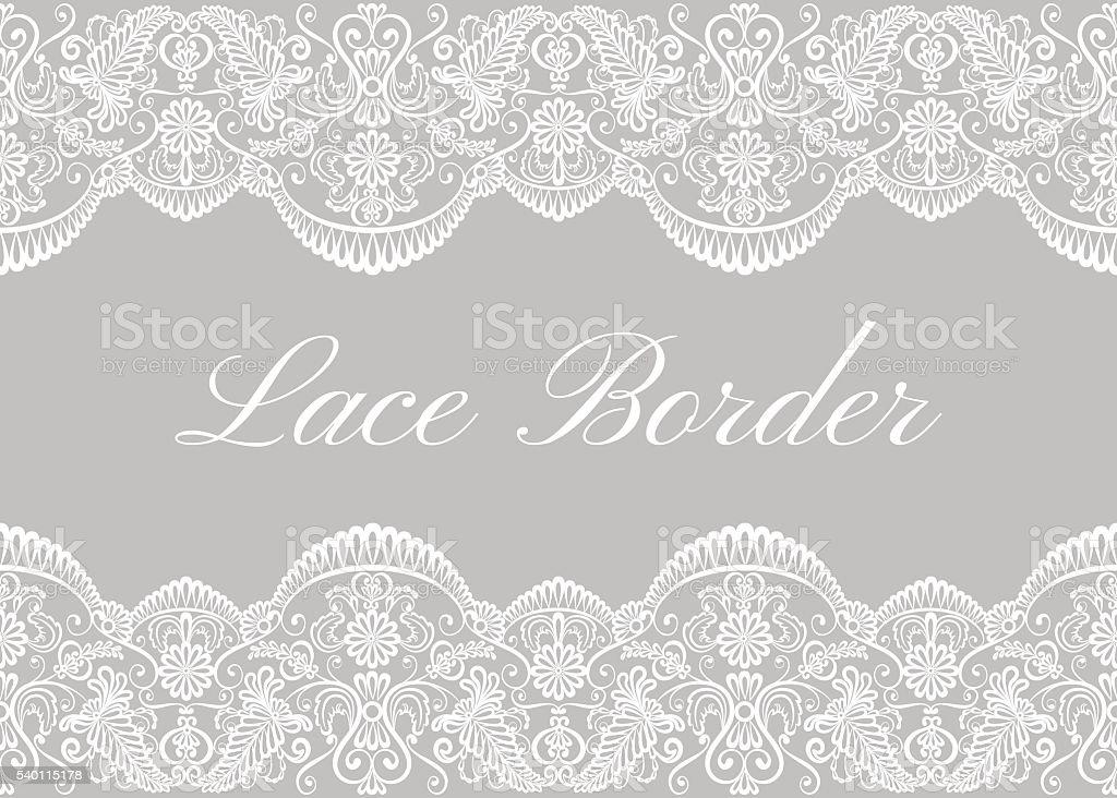 White lace borders vector art illustration