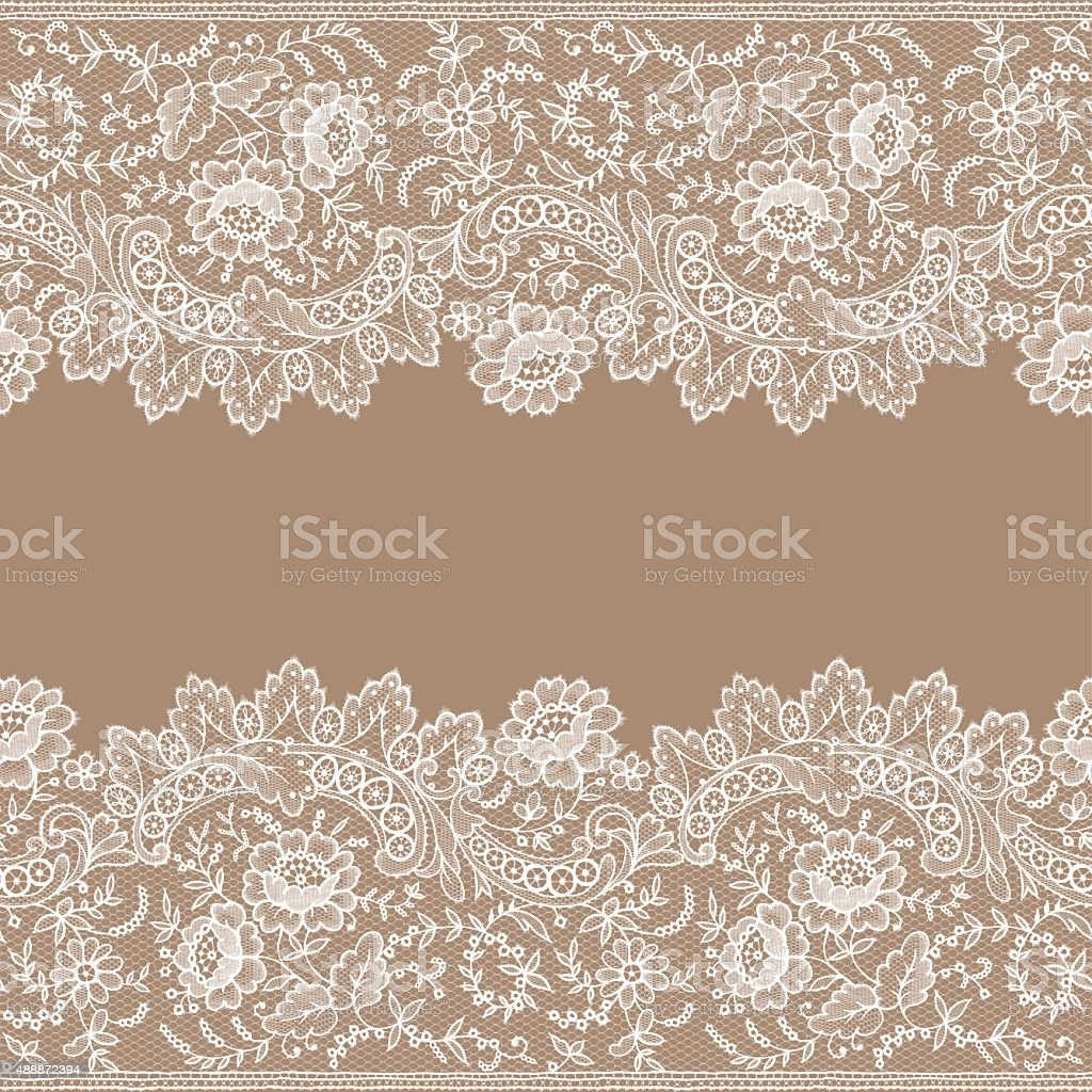 White Lace. Card. Horizontal Seamless Pattern. vector art illustration