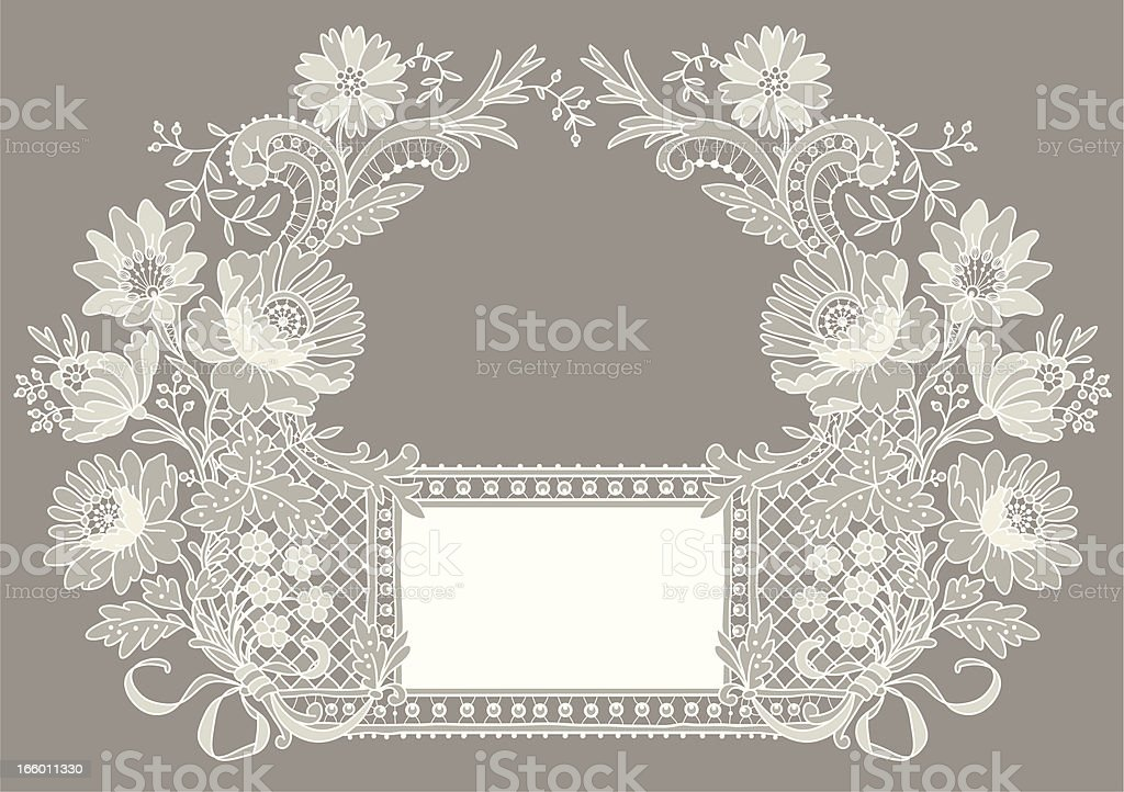White Lace Card. Pastel Colored Background. royalty-free stock vector art
