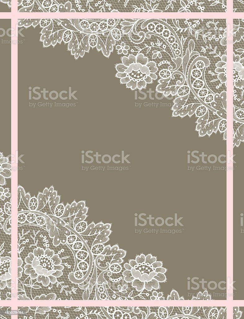White Lace Card. vector art illustration