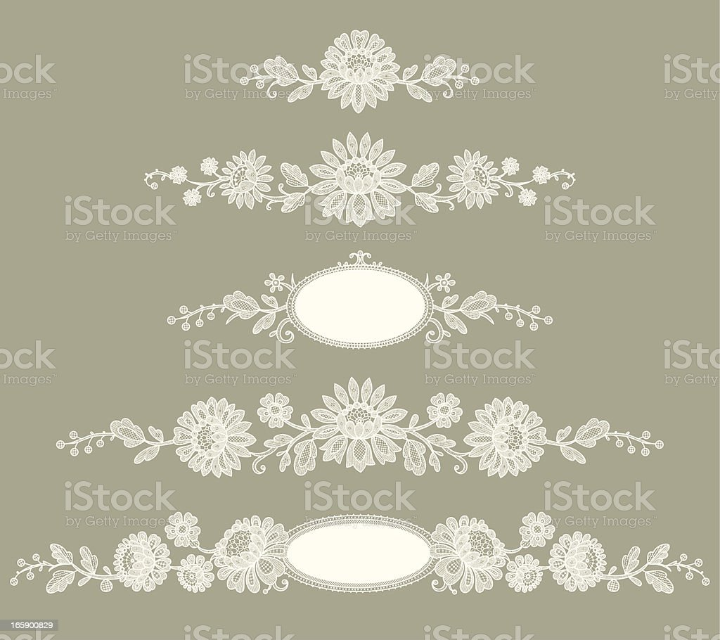 White Lace. Clip Art. Green Background. Set. vector art illustration