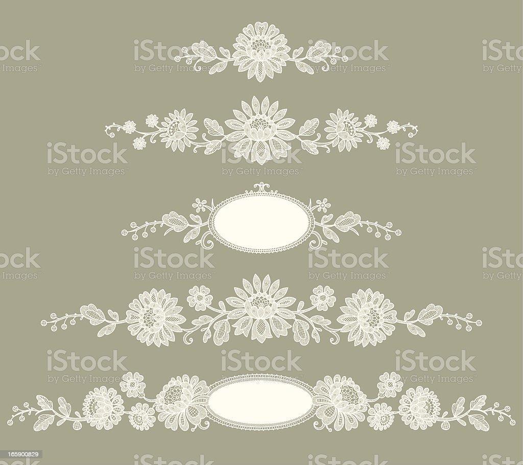 White Lace. Clip Art. Green Background. Set. vector art illustration