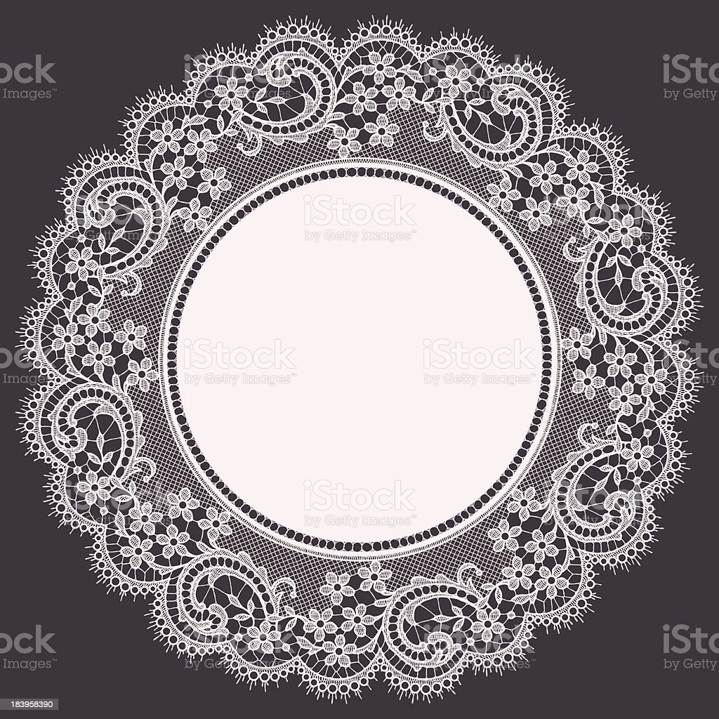 White Lace Doily. Floral Pattern. Gray Background. vector art illustration