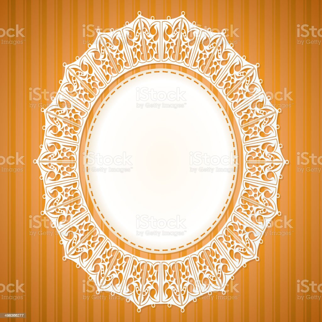 White lace doily on an orange background vector art illustration