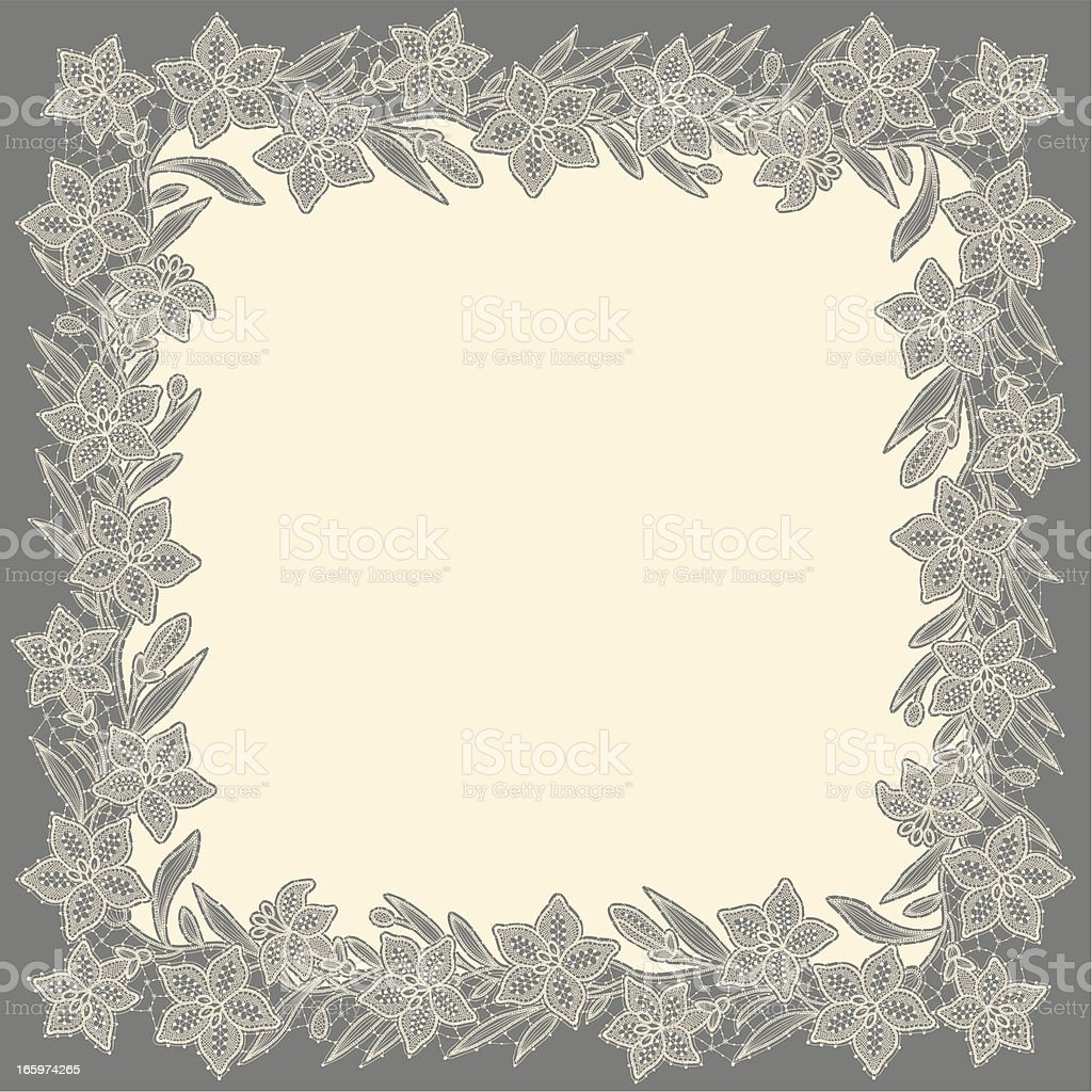 White Lace. Floral Pattern. Gray Background. royalty-free stock vector art