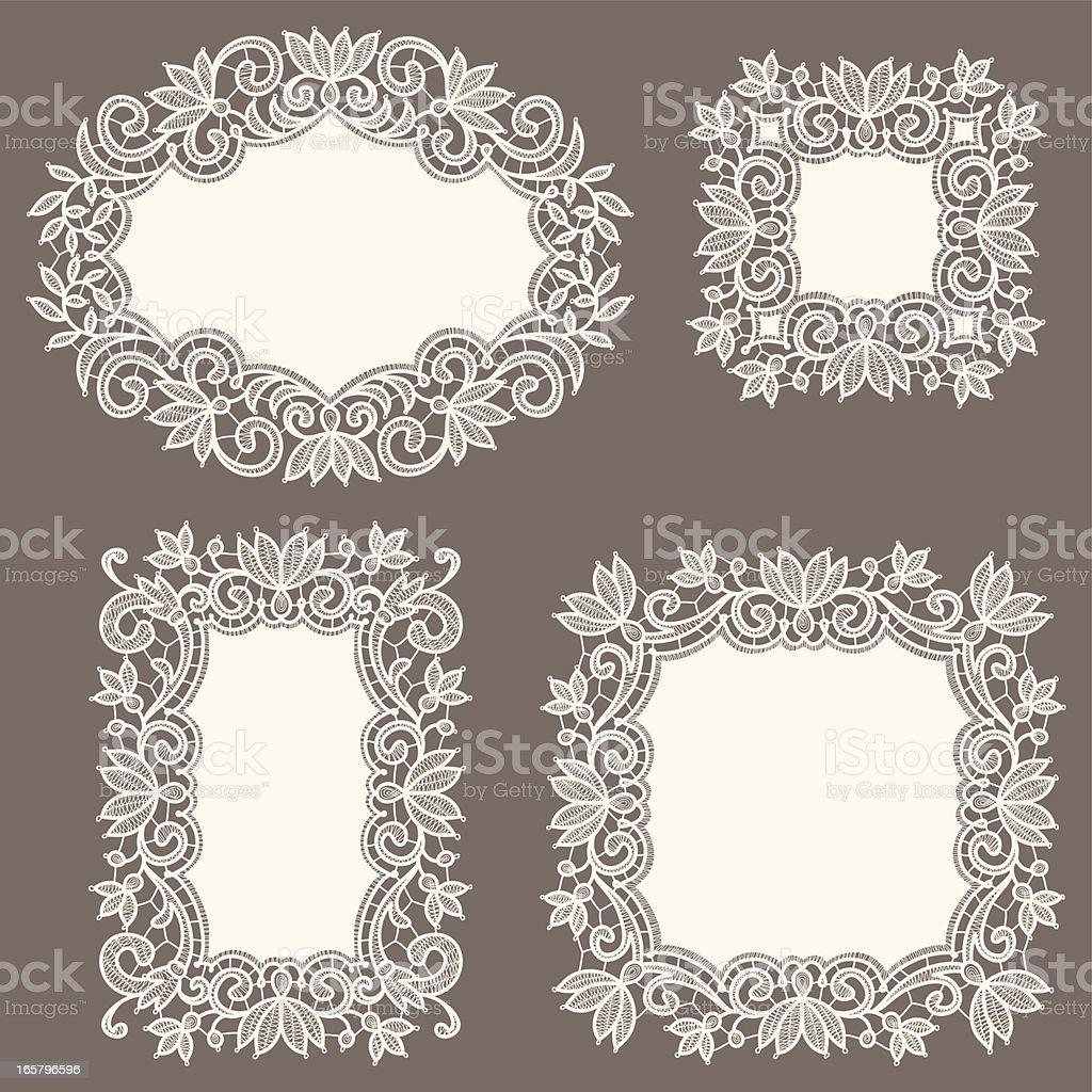 White Lace Frames. Set. vector art illustration