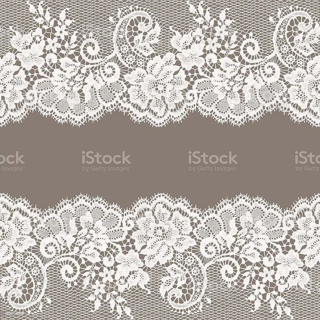 White Lace. Greeting Card. Gray Background. royalty-free stock vector art