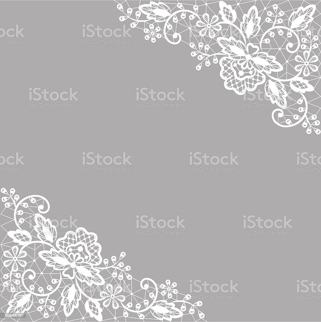 white lace on gray background vector art illustration