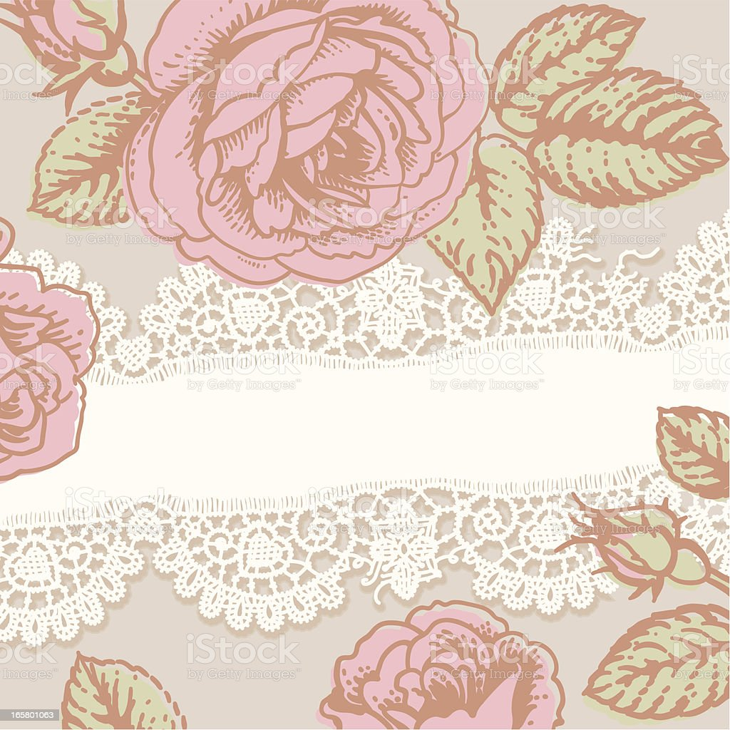 White Lace. Pink Roses. Card. royalty-free stock vector art