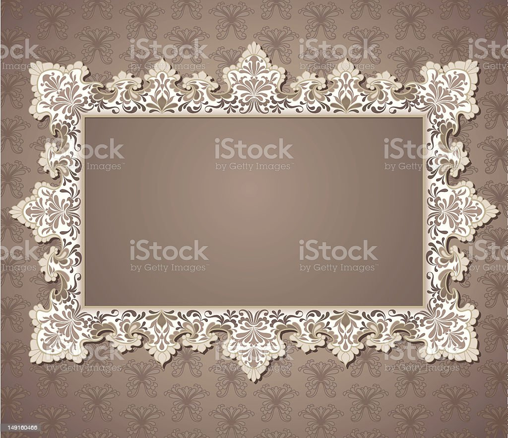 White Lace Rectangle Frame vector art illustration