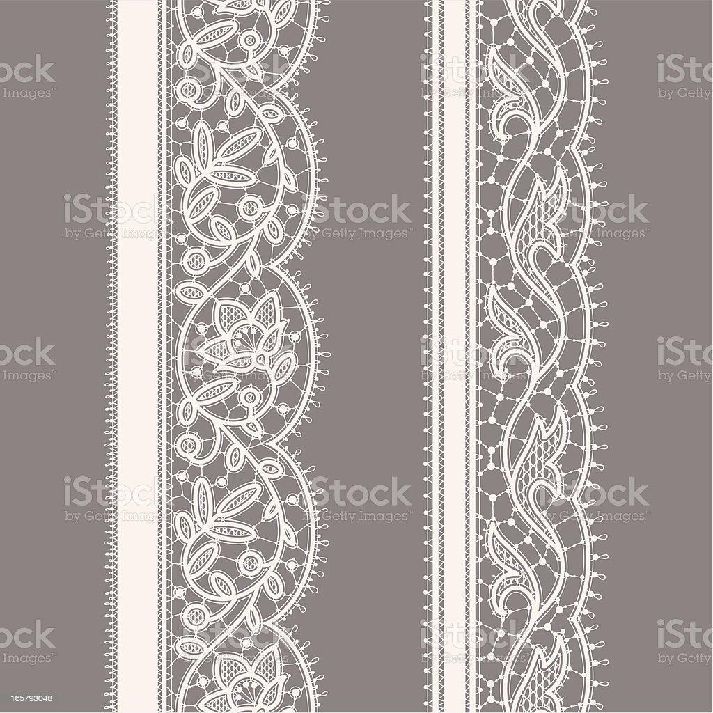 White Lace Ribbon. Seamless Pattern. Gray Background. Set. royalty-free stock vector art