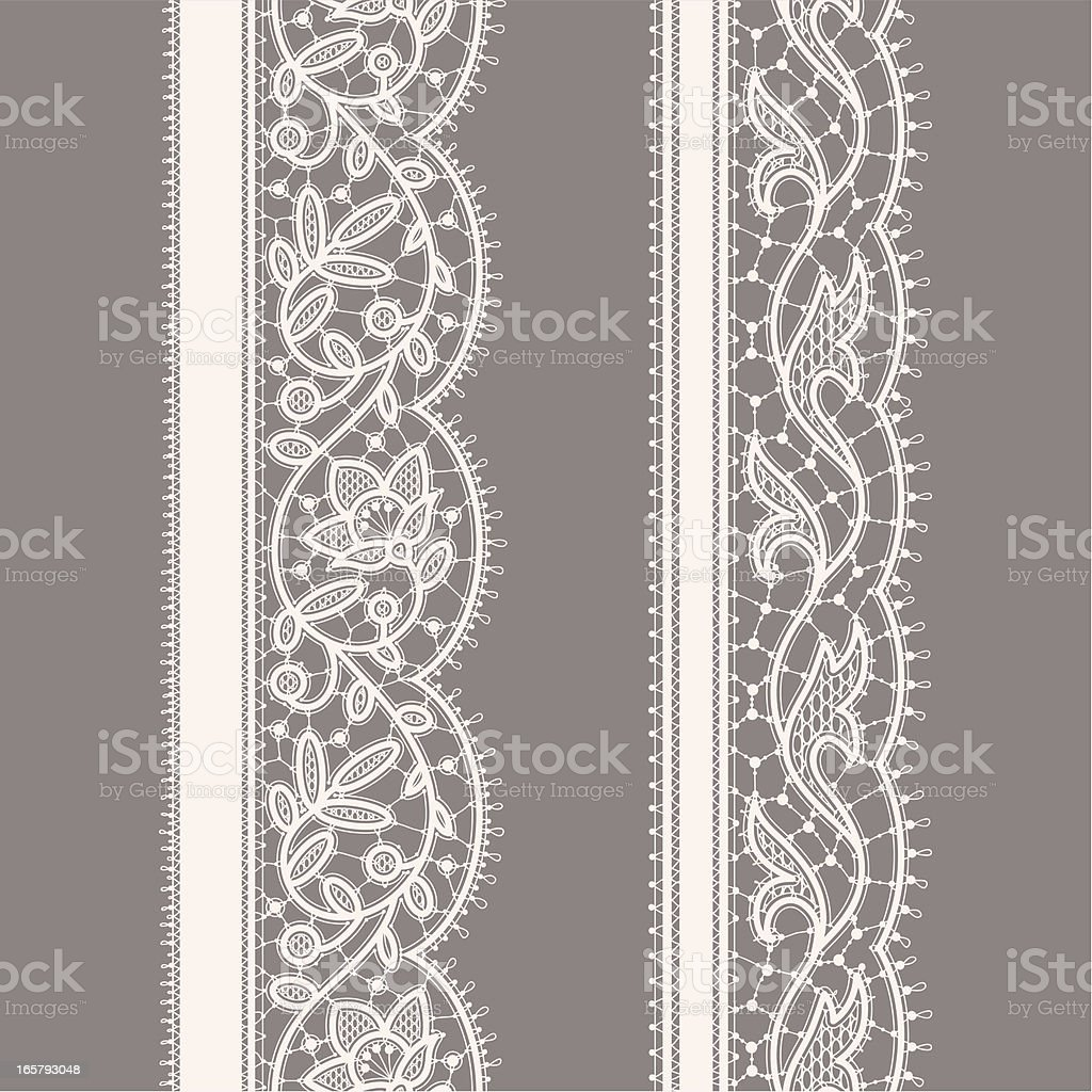 White Lace Ribbon. Seamless Pattern. Gray Background. Set. vector art illustration