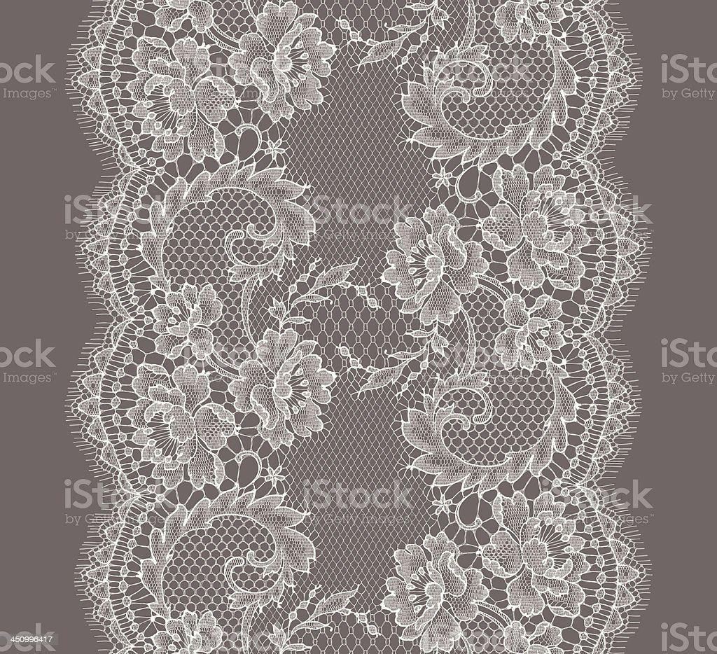 White Lace Ribbon. Vertical Seamless Pattern. royalty-free stock vector art