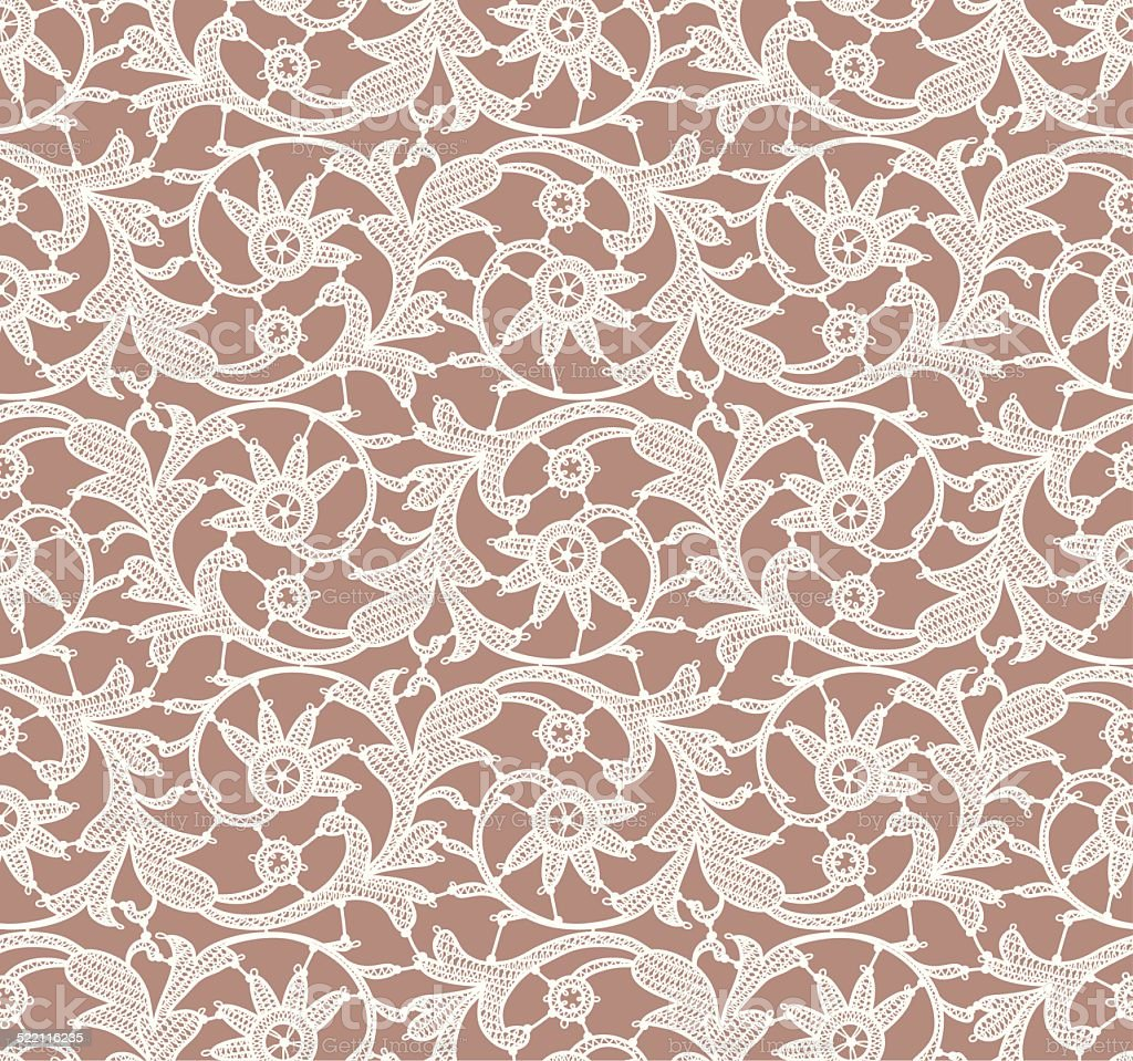 White Lace. Seamless Pattern. Beige Background. vector art illustration