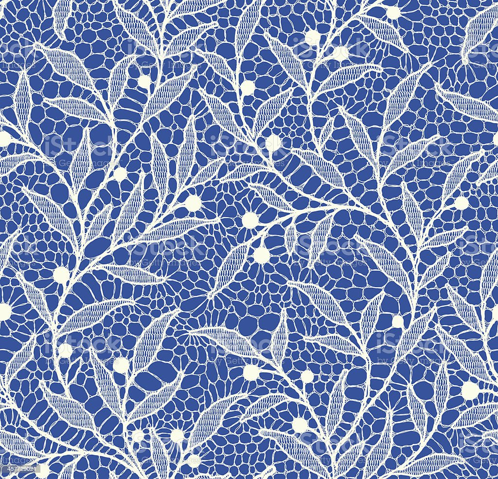 White Lace Seamless Pattern. Floral Pattern Blue Background. vector art illustration