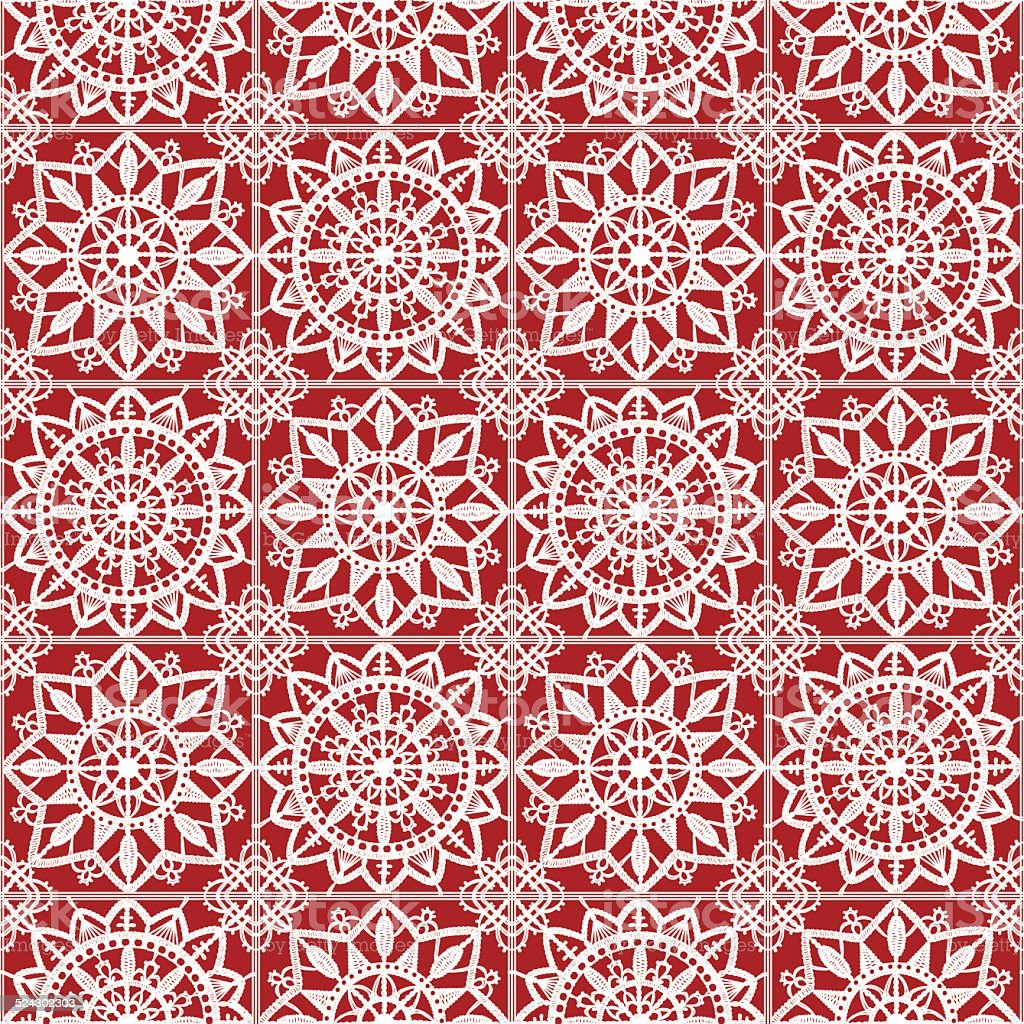White Lace. Seamless Pattern. Red Background. vector art illustration