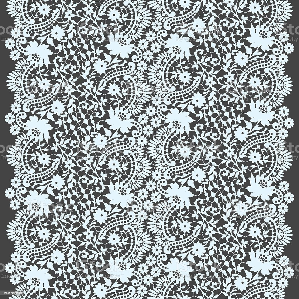 White Lace Seamless Pattern vector art illustration