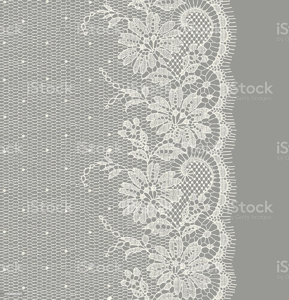 White Lace Vertical Seamless vector art illustration