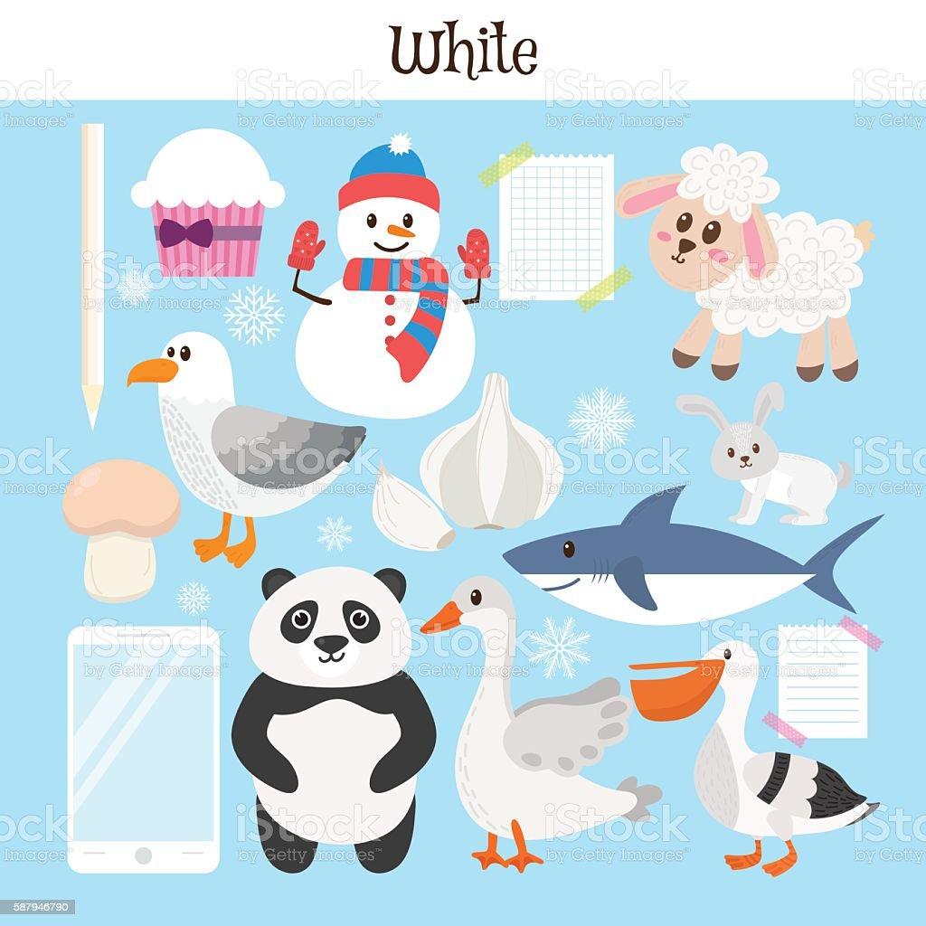 White. Learn the color. Education set. Illustration vector art illustration