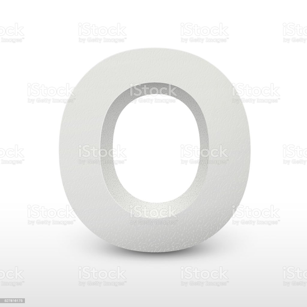 white letter O isolated on white vector art illustration