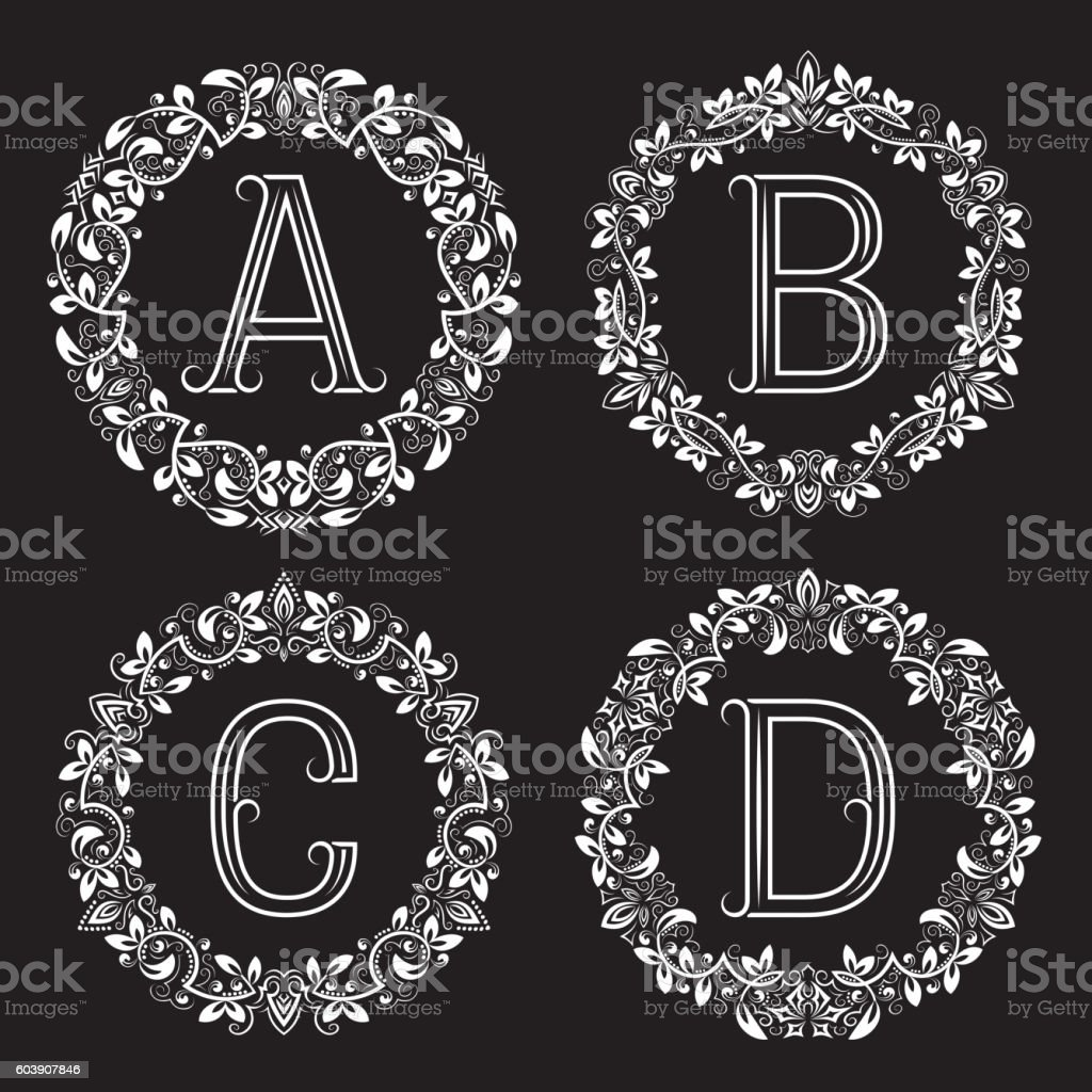 ABCD white letters in floral frames vector art illustration
