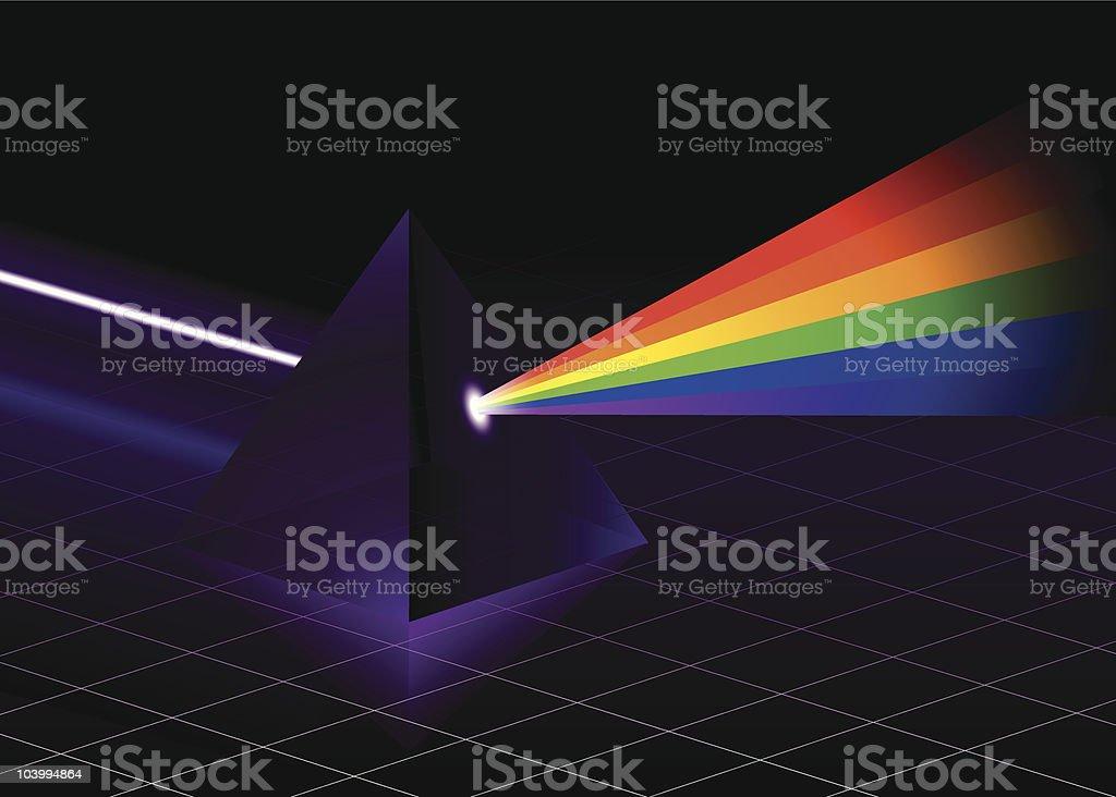 White light broken by prism royalty-free stock vector art