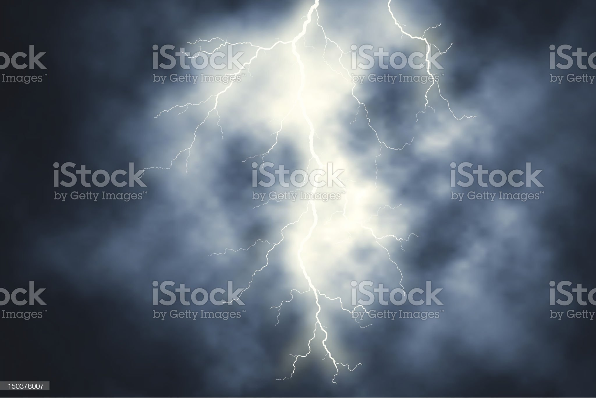 White lightning over a sky of dark clouds royalty-free stock vector art