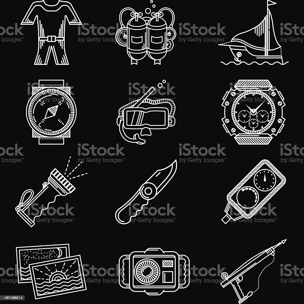 White line vector icons for diving vector art illustration