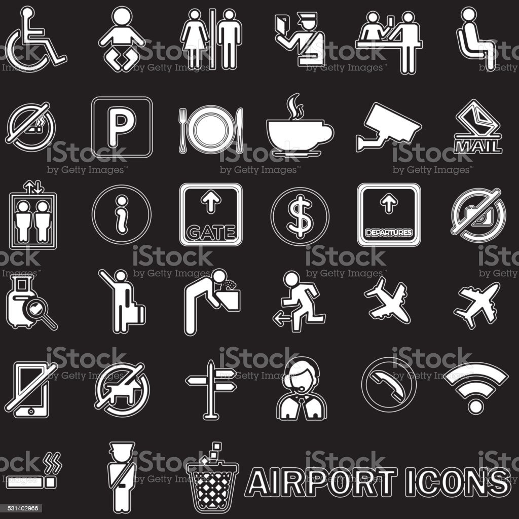 white lined pattern Airport icons vector art illustration