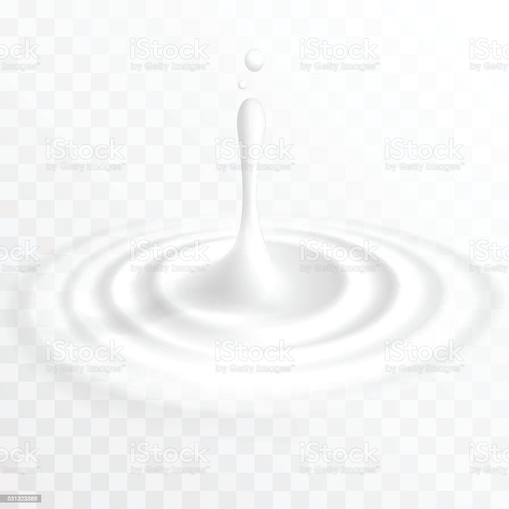 White liquid drop with ripple surface vector art illustration