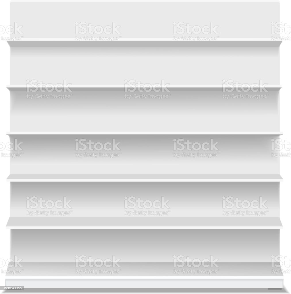 White long blank empty showcase displays with retail shelves vector art illustration