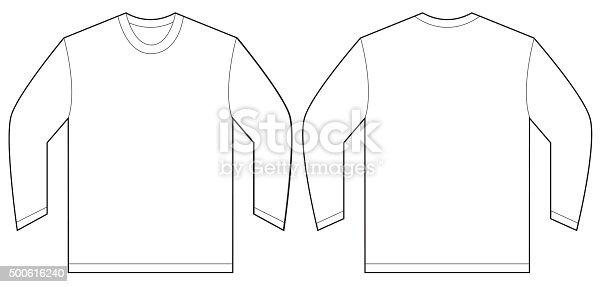 White long sleeve tshirt design template stock vector art for Tee shirt template vector