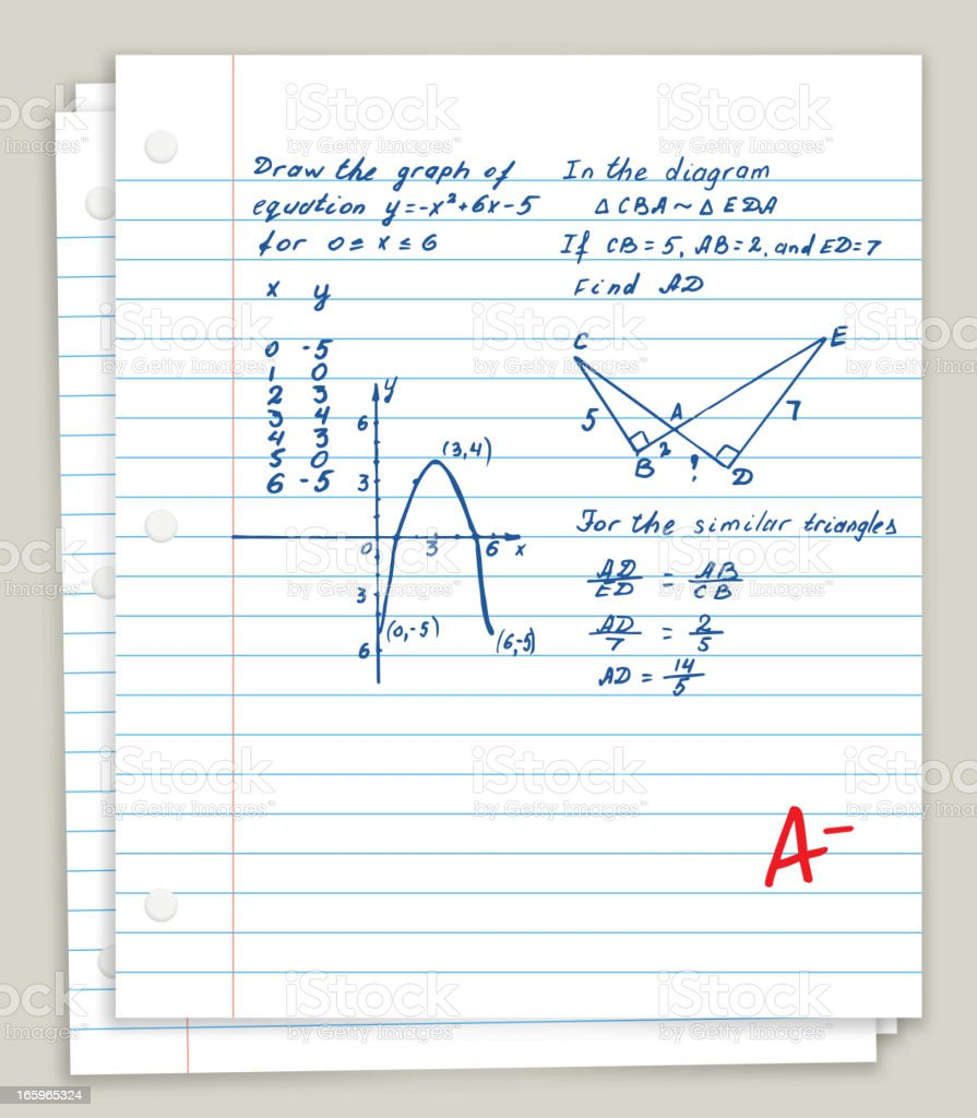 White Looseleaf Paper with math homework vector art illustration