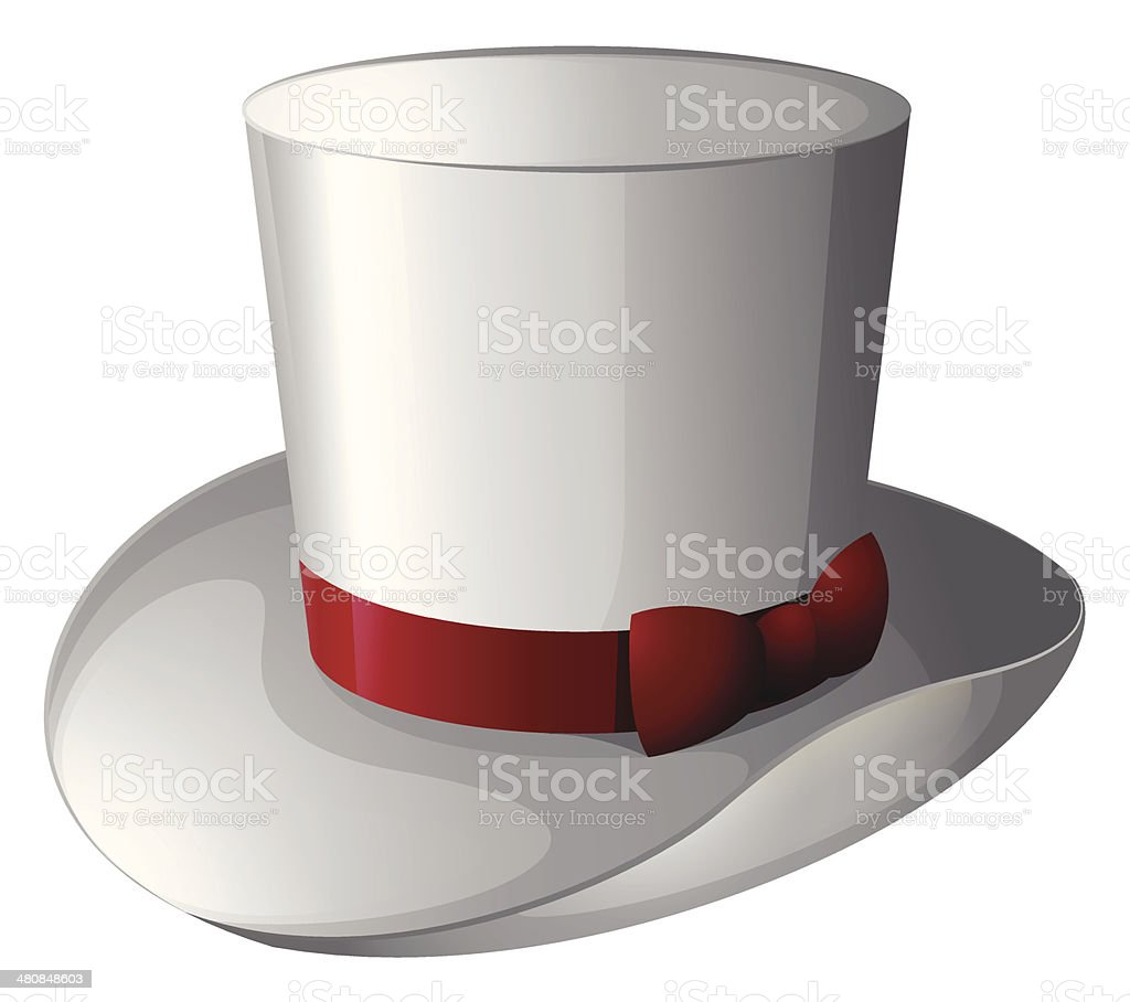 White magician hat with a red ribbon vector art illustration