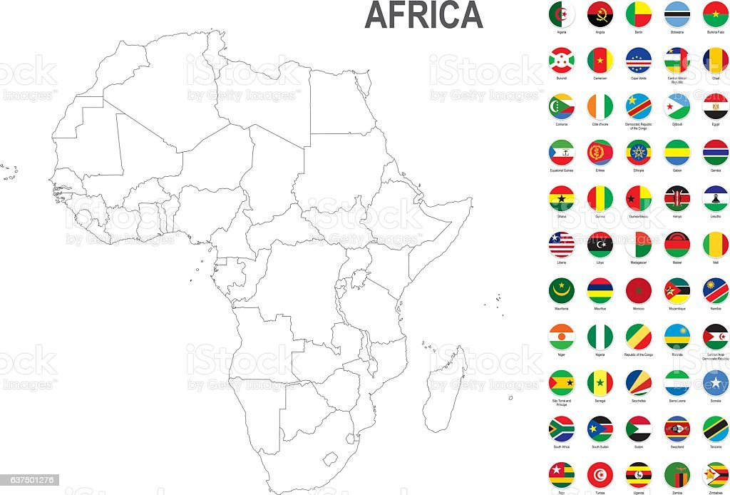 White map of Africa with flag against white background vector art illustration