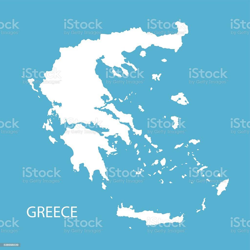 white map of Greece vector art illustration