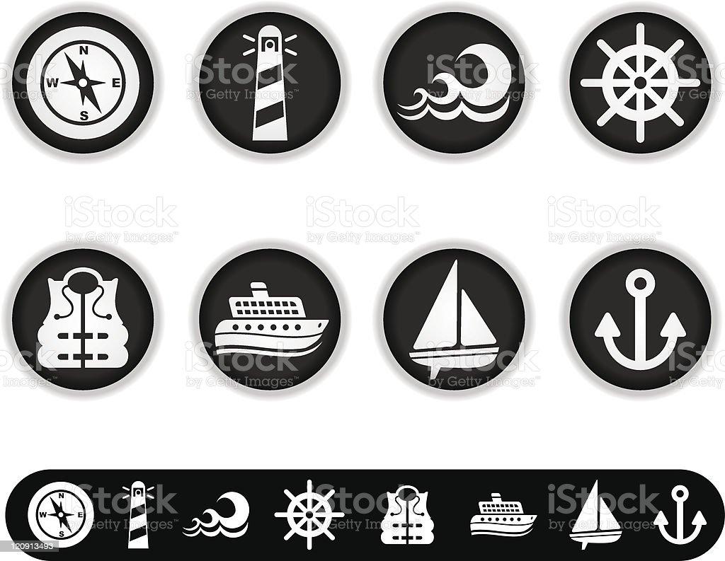 white marina icons royalty-free stock vector art