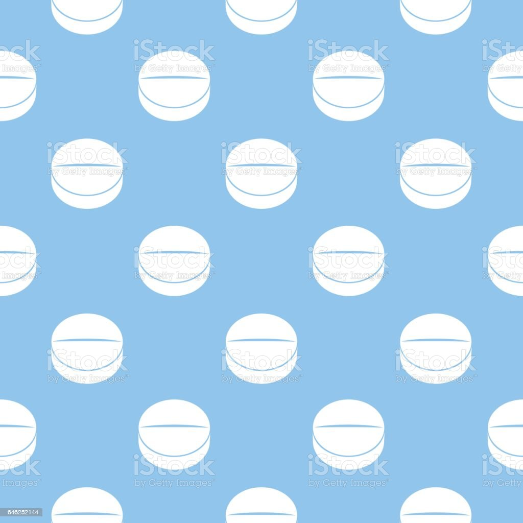White Medicine Tablets Seamless Pattern vector art illustration