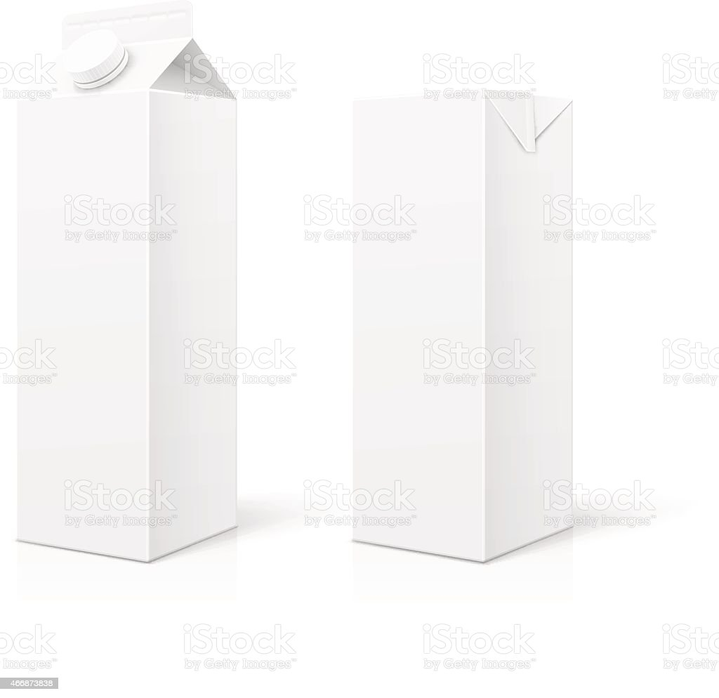 White Milk or Juice Package vector art illustration