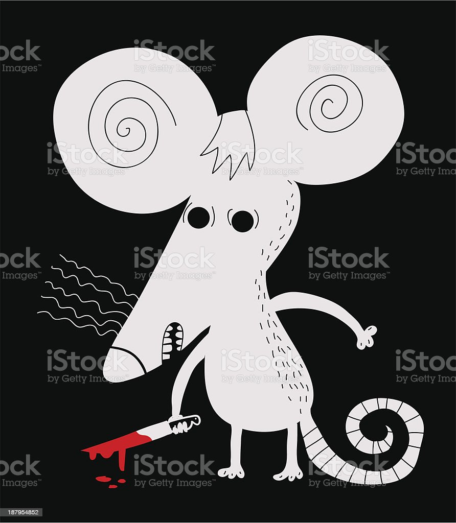 White mouse with bloody knife royalty-free stock vector art