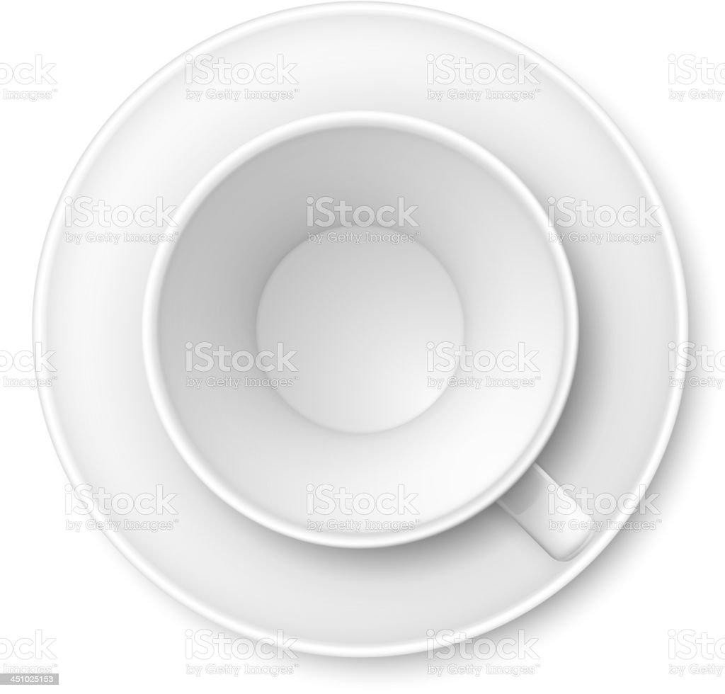 White mug and saucer vector art illustration