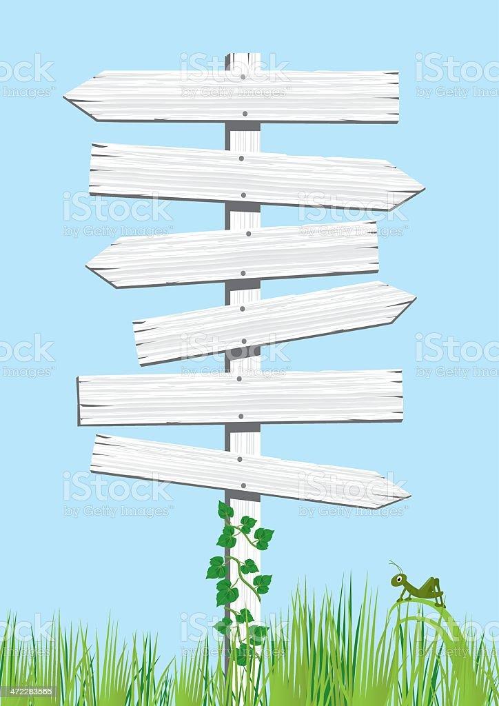 White Multiple Wooden Signs vector art illustration